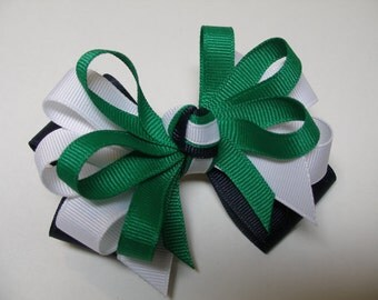 Tri Color Navy Emerald Kelly Green White Preppy Bow Back to School UNIFORM Boutique Toddler Girl Grosgrain Handmade