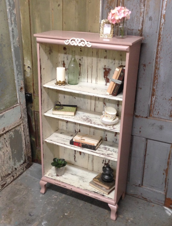 Pink Shabby Chic Bookshelf Painted Distressed Furniture