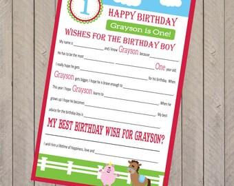 Farm Animal Birthday Wedding or Baby Shower Mad Libs Party Game (pdf file)