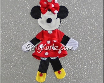 Minnie Mouse Hair Clip Minnie Hair Bow Minnie Hair Clip Ribbon Sculpture