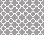 Riley Blake Quatrefoil Fabric, Gray and White, Cotton Sewing Material, Quilting, Clothing and Craft, Fat Quarter, Half Yard, By he Yard