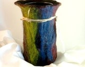 Primary colors, Black Felted Wool Vessel, wool Flower vase w/ Glass Interior, Anniversary gift, The Vertical Painterly Vase / Wine Cozy