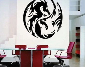 Dragon Circle Wall Decal, asian decal, marital art wall decals, martial art dragon, studio dragon decor, dragon wall art, dragons, f54