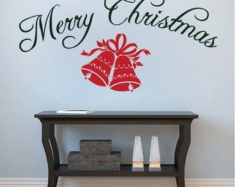 Merry Christmas Wall Lettering, christmas wall sayings, christmas wall quotes, removable christmas wall and window decal murals, h44