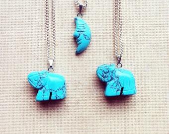 Turquoise Necklace- Gemstone Elephant Necklace, Turquoise Crescent Moon Necklace, Birthstone Necklace, Turquoise Necklace Boho FREE SHIPPING