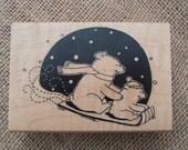 Polar Bear Stamp Mounted on Wooden Block - Inkadinkado