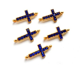 5 Gold Plated Blue Rhinestone Sideways Cross Connector/Charms - 2-C-1