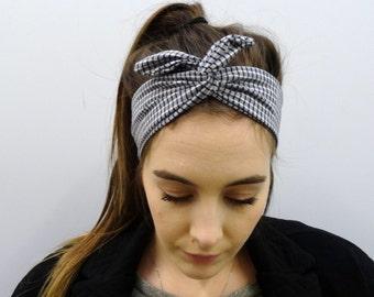 Black and white checked headband