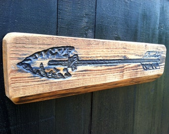 Short Indian Arrow V-Carved into a Piece of Florida Cypress - Directional Gift