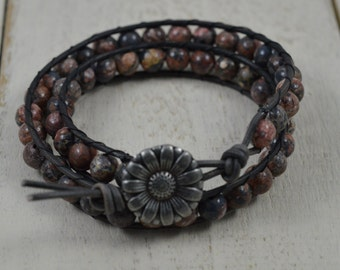Leopardskin Jasper Beaded Double Leather Wrap Bracelet - Flower Button Gemstone Wrap Double Wrap Leather Wrap Jasper Wrap