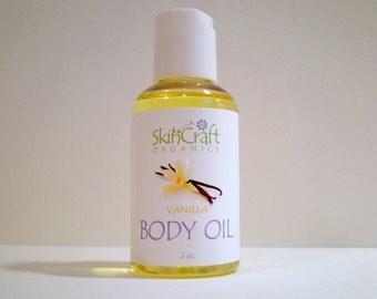 Vanilla Bath Oil / Body Oil / Massage Oil -  All Skin Types  - All Natural - Vegan - 2 oz