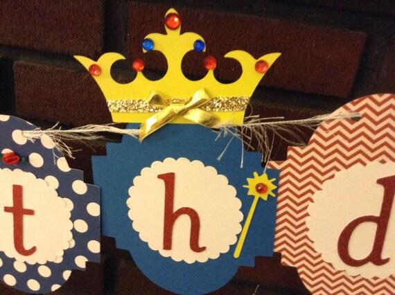 Princess Birthday Banner red blue gold yellow white princess birthday theme