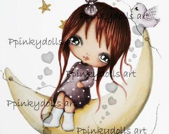 INSTANT DOWNLOAD Digital Digi Stamps..by Chrishanthi's art,Moongirl and bird.''