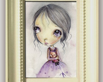 Original painting mixed media on paper...OOAK ''Natalie with bear friend'' FRAMED