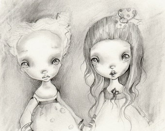 Original pencil drawing on heavy cotton paper..Sisters' OOAK