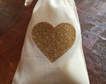 Gold glitter heart cotton muslin drawstring favor bags - wedding, bridal shower, baby shower, birthday loot bag