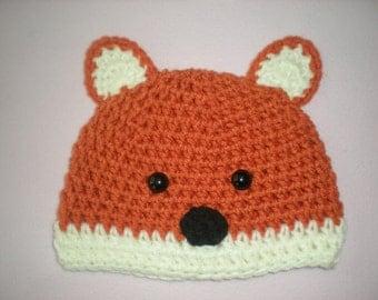 Crochet Fox Beanie, Fox Baby Costume, Photography Prop, Newborn Photo Prop