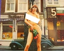Risque Nude Postcard Phil Bloom Hippie flower power Euro color cards Actress womans liberation Vintage