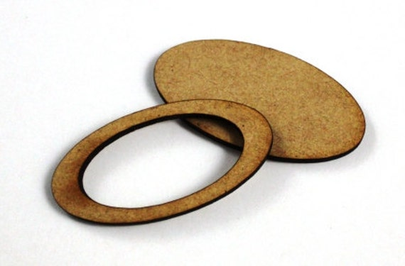 1 Large Craft Wood Bezel Oval Frames, 250 mm Wide, lasercut wood