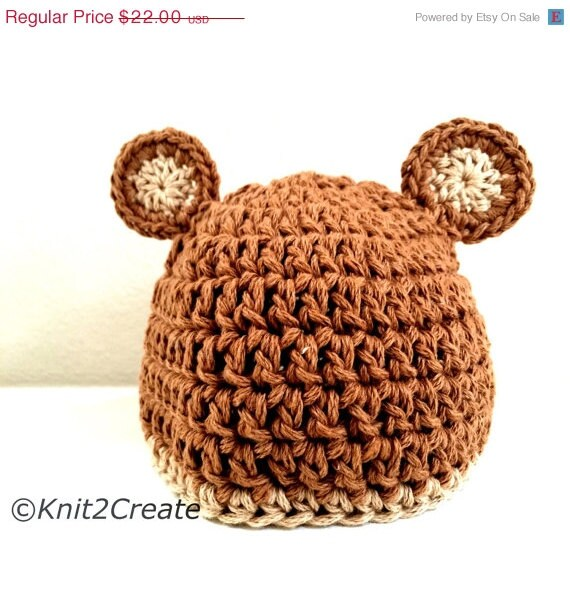 ON SALE Newborn Baby Boo Hat in Organic Cotton, Baby hat with ears, Brown hat