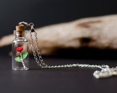 Tiny Paper Rose in a bottle necklace - Vial Pendant