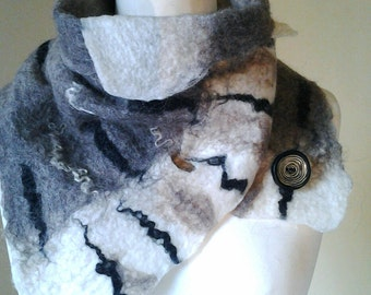Felted scarf Black and White scarf wool felted scarf winter accessories winter scarves