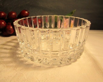 Heavy Crystal Faceted Bowl Gift Idea Stuning  Solid Crystal