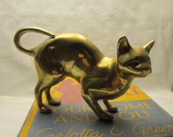 Solid Brass Cat Paperweight or ornament Lucky kitten purrrfect