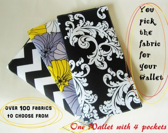 "One ""4 Pocket"" Tract & Campaign Holder, Travel Wallet, Clear Pockets and Fabric Pockets, Made to Order"