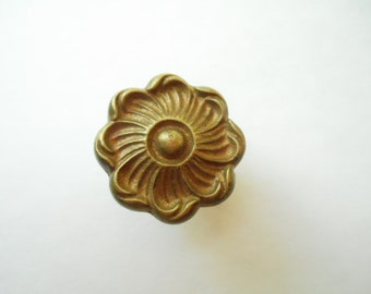 Antique or Vintage Brass Colored Metal Dresser Drawer Furniture Knob 1 1/4 Inch  Restoration Hardware Replacement Shabby Chic