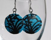 Blue Round Bamboo Hanji Paper Earrings Dangle Bamboo Design Peacock Blue Black Hypoallergenic hooks Lightweight Ear rings