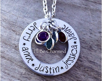 Custom Personalized, Hand Stamped Necklace, Birthstone Jewelry, Gifts for Mom, Grandma Jewelry, Mom Necklace, Family, Grand Children, Kids