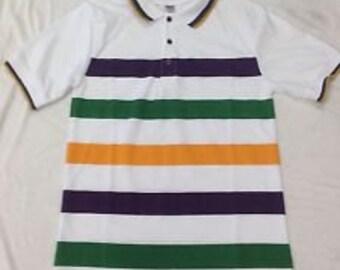 Mardi Gras White Short Sleeve Polo Shirt