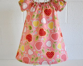 Gathered Peasant Toddler Dress Pink with Red Strawberries