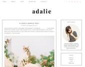 "Blogger Template Premade Blog Design - ""Adalie"" Blogger Theme White and Pink"