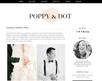 "Wordpress Theme Premade Blog Template Design - ""Poppy & Dot"" Instant Digital Download"