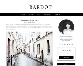 "Blogger Template Premade Blog Design - ""Bardot"" Blogger Theme Black and White"