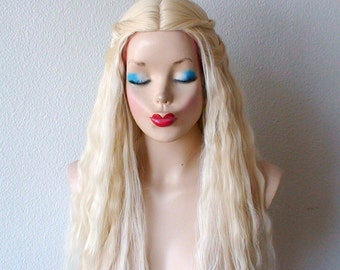 Blonde wig. Beach wavy hairstyle wig. Cosplay wig. Custom wig. Durable heat friendly synthetic wig for daily use or Cosplay.