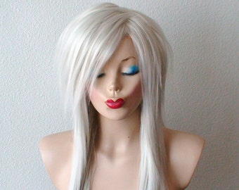 White Gray wig. Scene girl wig.  Heavy layered Straight hairstyle wig. Emo wig.