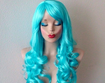 Blue wig. Light blue wig. Long curly hair side bangs wig. Cosplay Lolita Costume wig.