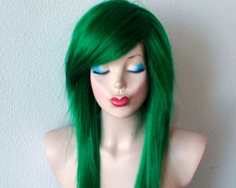 Scene wig. Green wig. Emo wig. Irish green hair wig. Durable Heat resistant black hair wig for daily use or cosplay