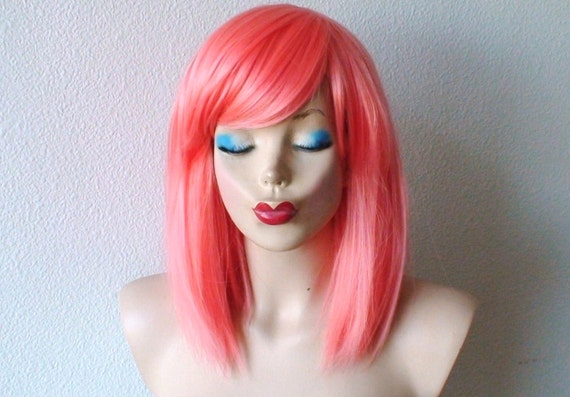 Coral color wig. Shoulder length straight hair wig. Coral hair wig. Durable fancy color wig for cosplay and daily use
