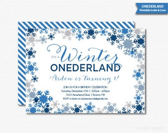 Boys Winter Onderland Invitation Printable Digital Invite Blue Snowflakes First Birthday Party
