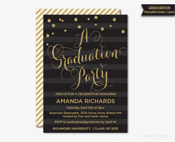 gold glitter graduation party invitation printable graduation