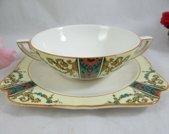 1920s Crown Ducal English Bone China PAT 72944 Reg 732597 Cream Soup Bouillon Bowl and Saucer