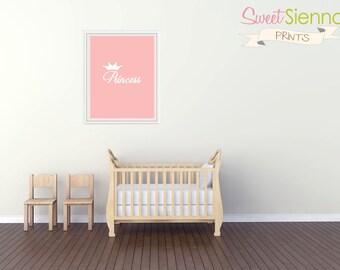 """Baby girl nursery print """"Princess"""" Nursery decor, princess nursery art. Nursery Wall art, baby girl nursery decor, 8x10"""" PDF"""