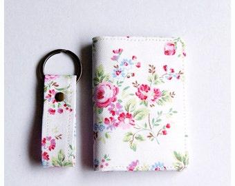 Business Card Holder, Gift Card Holder, Fabric Credit Card Case and Keyfob Gift Set  - Vintage Flowers