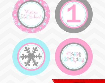 INSTANT DOWNLOAD - Pink Winter ONEderland Cupcake Toppers