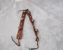 Vintage leather leg straps for boy scouts dancers, Native american dancers, bells and turquoise beads, boy scout collectibles
