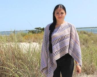Crochet Pattern for Poncho Shawl, Windowpane, PDF 14-151 INSTANT DOWNLOAD